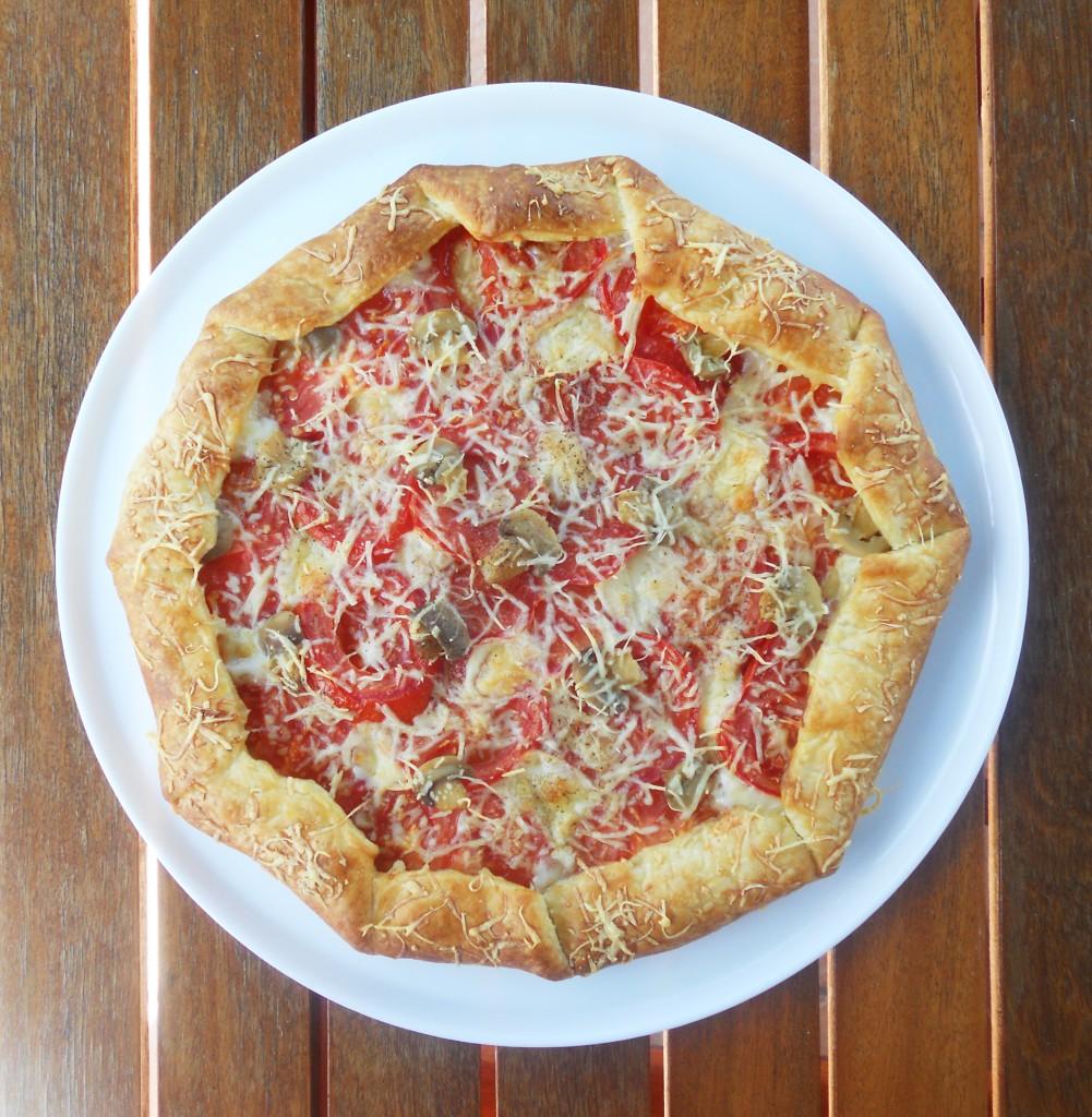 Tarte tomate - mozza - champignon