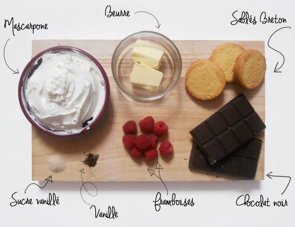 Cheesecake choco-framboise ingrédients