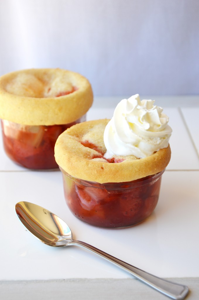 Strawberry and rhubarb pots