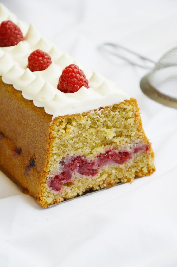 Cake vanille et framboise