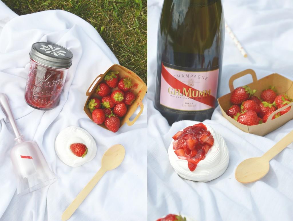 Pavlova citron - confiture fraise-mûre-champagne rosé G.H. Mumm by Plus une miette dans l'assiette