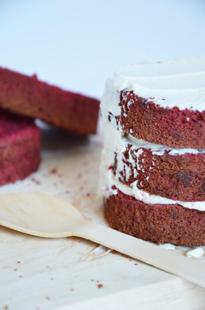Montage Red Velvet Cake - Plus une miette dans l'assiette