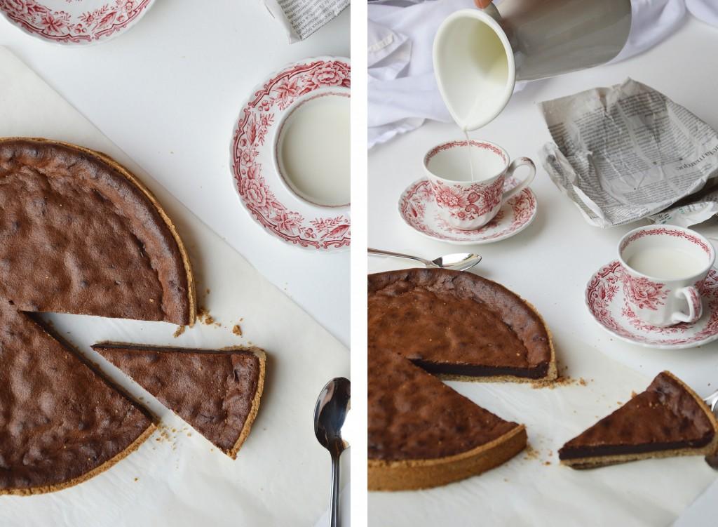 Tarte noisette - chocolat par Plus une miette dans l'assiette