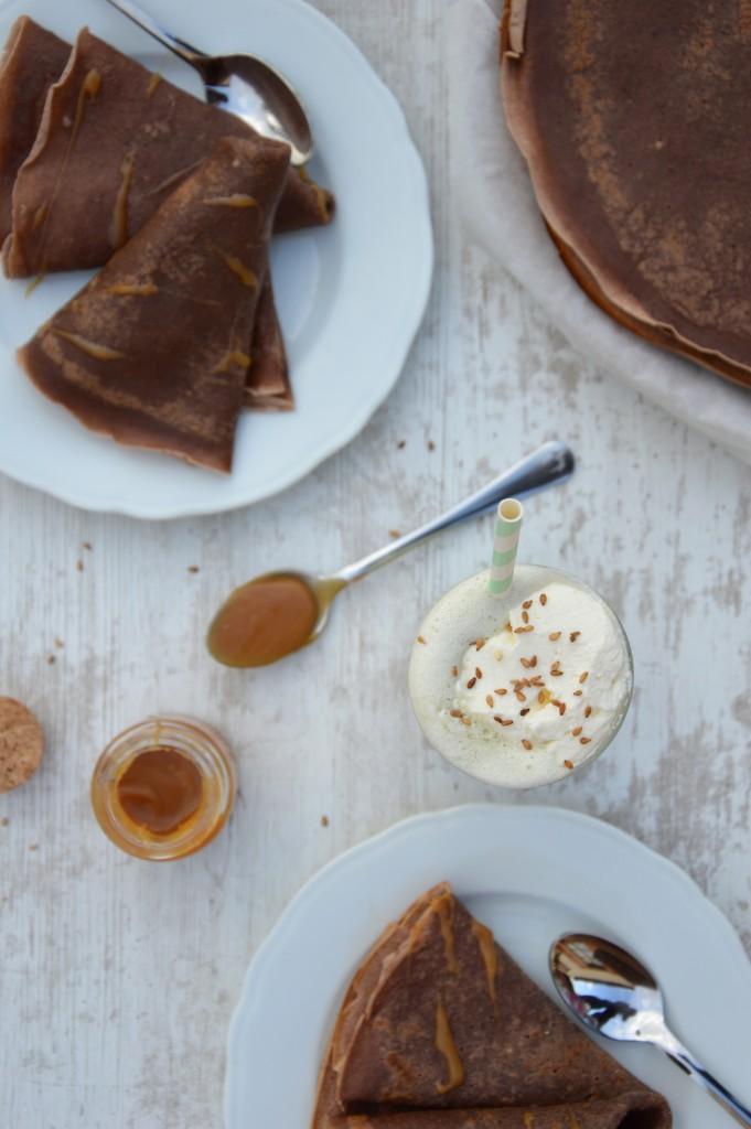 Matcha Latte et crêpes choco - Plus une miette dans l'assiette