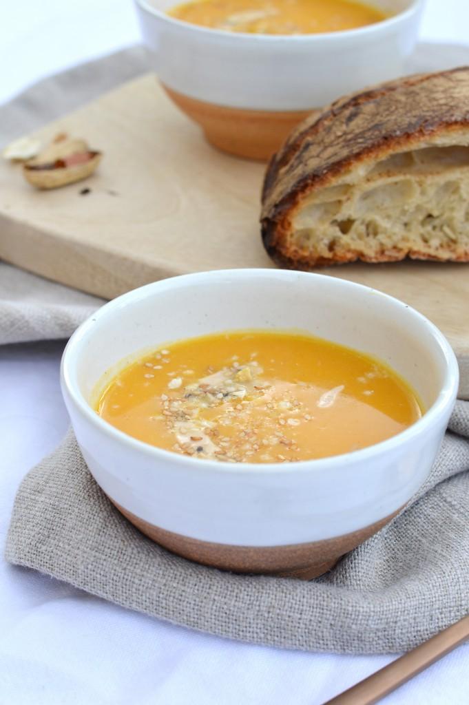 Soupe potiron-butternut-beurre de cacahuète - Plus une miette