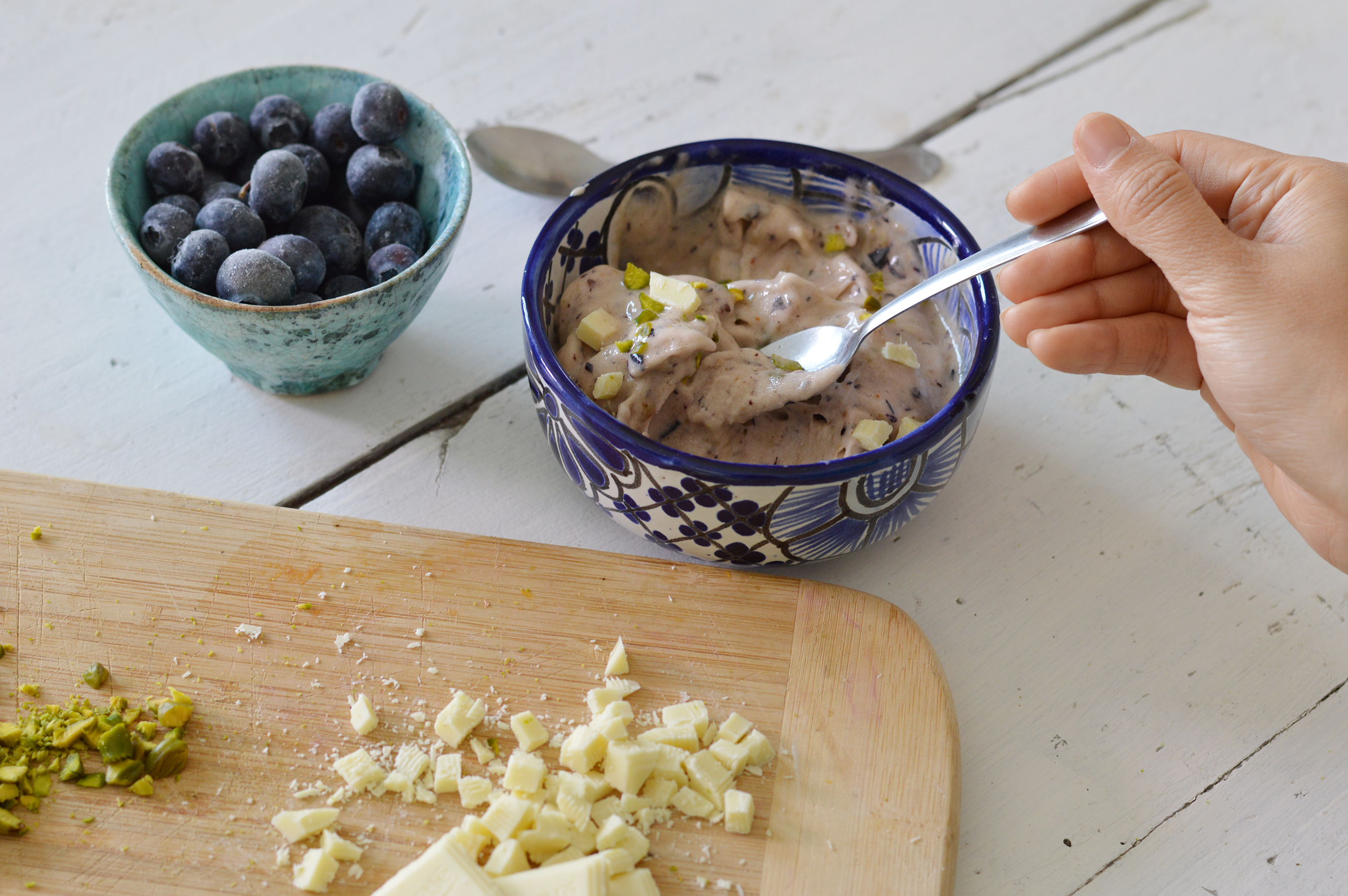 Glace minute banane myrtille - Plus une miette dans l'assiette